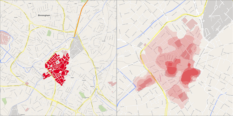 Side-by-side maps showing the retail areas in Birmingham (left) and hottest pitches within them (right).