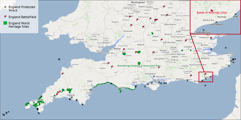 A map showing historical locations in England and highlighting the Battle of Hastings.