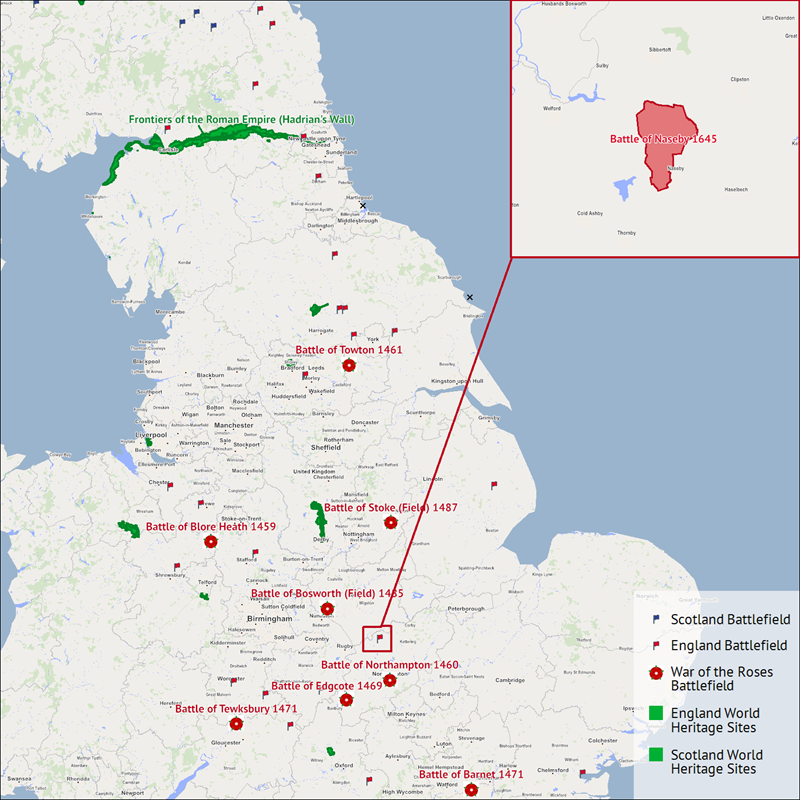 A map showing historical locations in England and highlighting the Battle of Naseby.