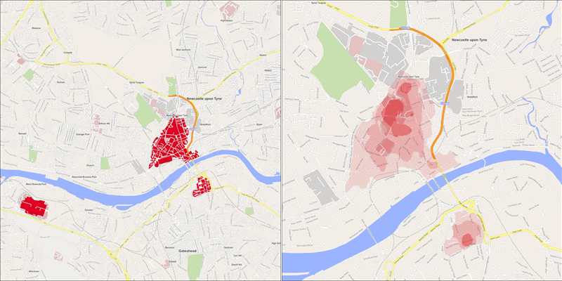Side-by-side maps showing the retail areas in Newcastle (left) and hottest pitches within them (right).